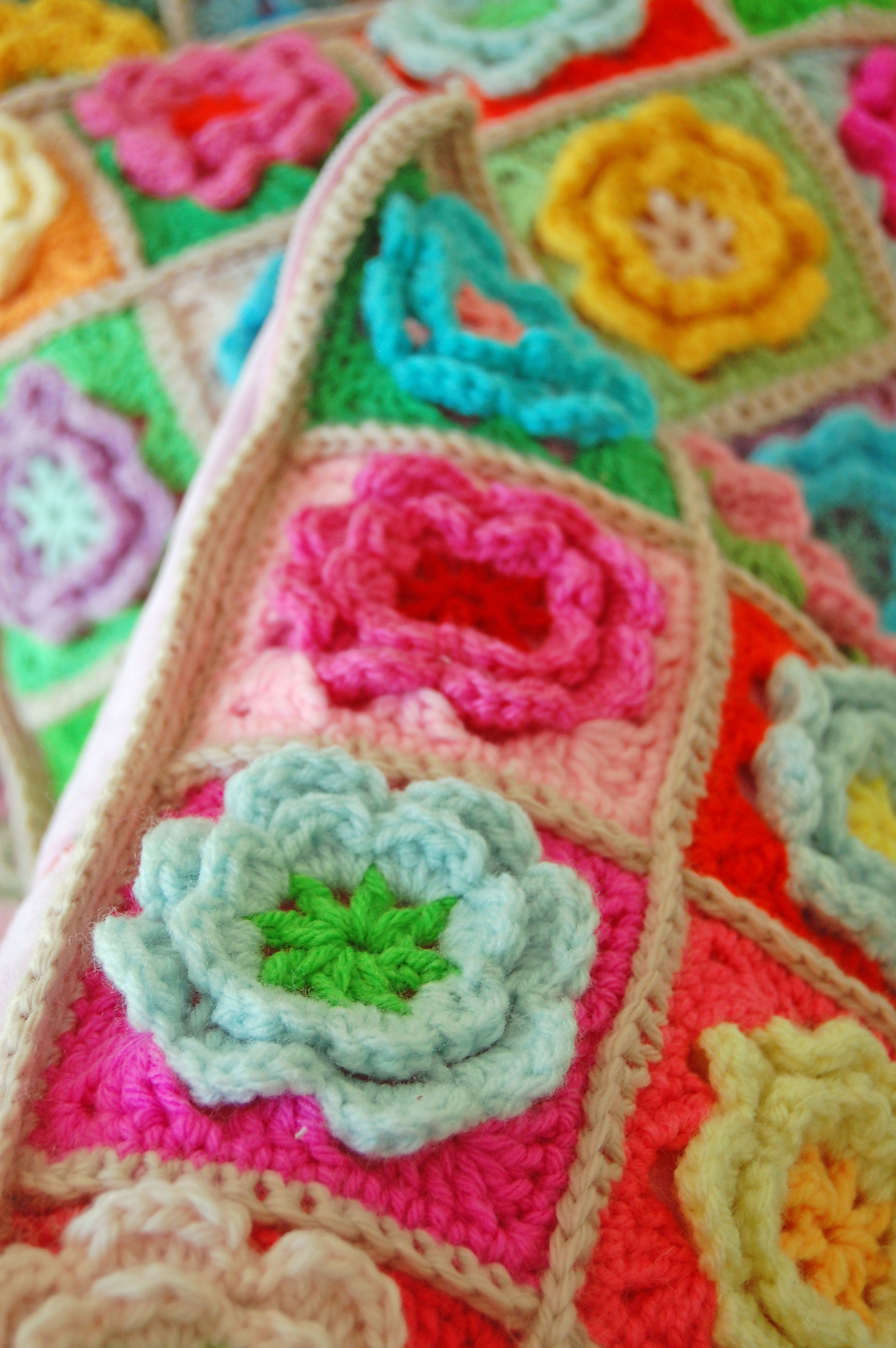 3d Flower Crochet Blanket Pattern Crochet Flower Square Pattern